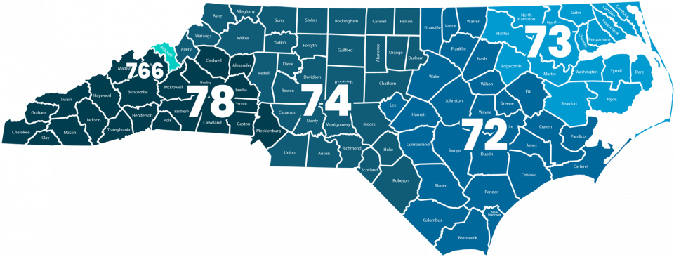 Image of the state of North Carolina outlining the service areas of MacGuire & Crawford