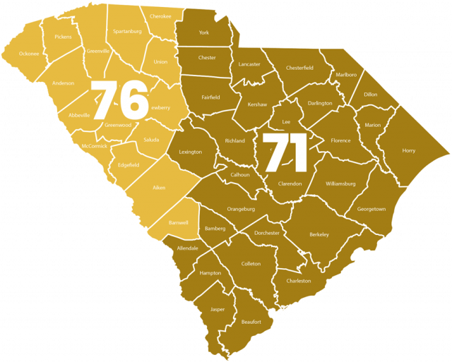 Image of the state of South Carolina outlining the service areas of MacGuire & Crawford