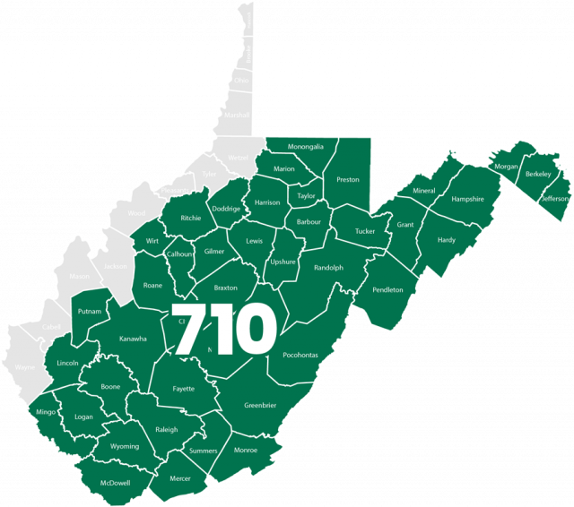 Image of the state of West Virginia outlining the service areas of MacGuire & Crawford